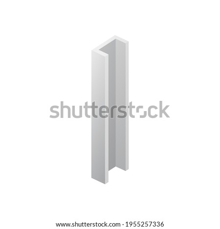 Template of metal beam or balk clamp, realistic vector illustration isolated. Stockfoto ©