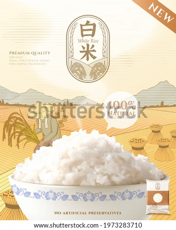 Template of rice product ad. 3d mockup of steamed rice in the ceramics bowl. Engraving sketch of paddy field, sheaves of straw, and a farmer harvesting. Chinese translation: milled rice Foto stock ©
