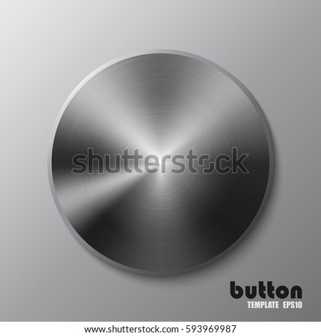 Template of round metal disk or button with dark steel texture isolated on gray scale background