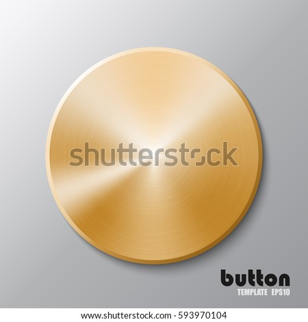 Template of round metal disk or button with golden texture isolated on gray scale background