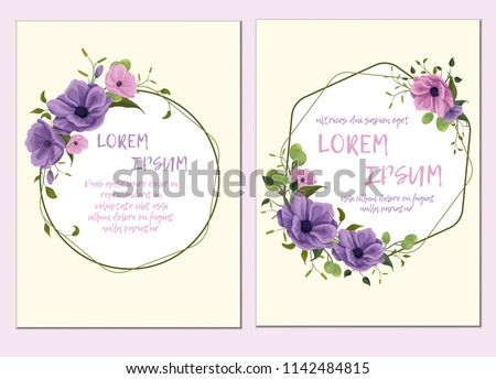 Template of the wedding invitation, cards. Imitation of watercolor. Design of flowers, twigs, foliage, grass. Delicate pastel colors: pink, purple, violet, green. With a geometry frame.