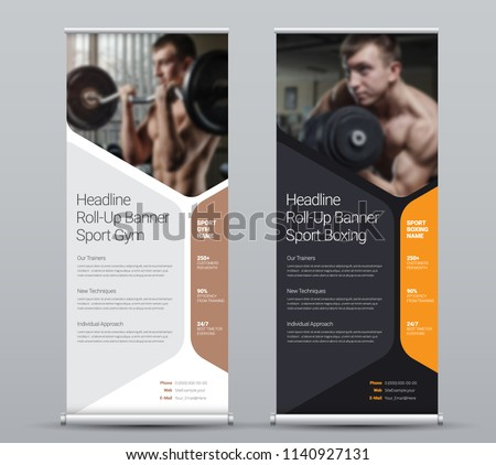 Template of vertical roll-up banner with hexagonal elements for a photo. Black and white Design flyer for business and advertising, a sample for gyms. Vector illustration