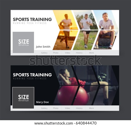 Template of white and black banner for social networks. Design cover  for sports, jogging, gym with images in the form of an arrow. Blurred photo for sample