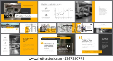 Template of white, black and yellow slides for presentation and reports. Business and research concept can be used for infographic design, corporate layout, advertising banners