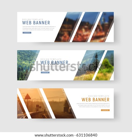 Template of white web banners with diagonal elements for a photo. Universal design for advertising business, travel, food and othe. Photo of a mosaic for a sample. Set