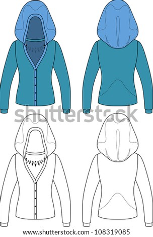Template outline illustration of a blank hooded woman jacket
