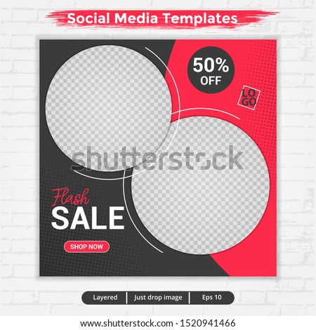 template post for social media ads, template flash sale with red and black color, file with layered and eps 10