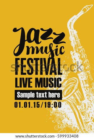 Template Poster for jazz festival live music with a saxophone
