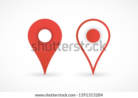 Template red pin map icons. Web place symbols with shadow, navigation. Pointer icons. Pin map in flat and line style. Location marker sign. Vector illustration. EPS 10