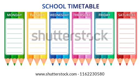 Template school timetable for students or pupils with days of week and free spaces for notes. Vector illustration.
