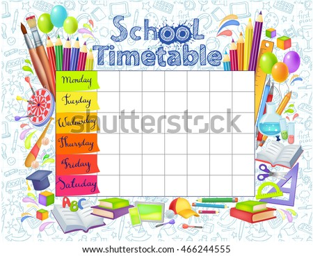 template school timetable for...