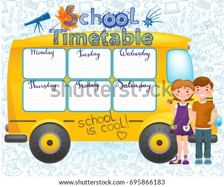 Template school timetable for students or pupils with days of week and free spaces for notes. Illustration in the form of school bus