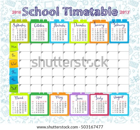 Template school timetable lessons and calendar 2016-2017  for students or pupils with days of week and free spaces  for notes.
