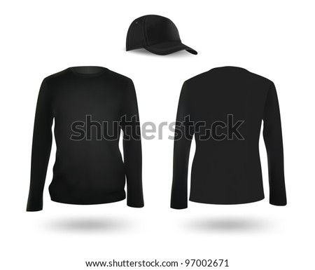 Template set: black long sleeve blank t-shirt and a cap