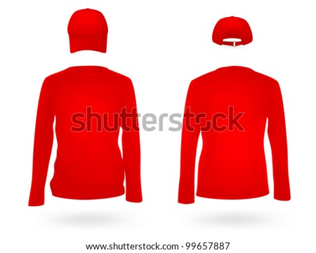 Template set: long sleeve blank red jersey and a cap.