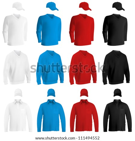 Template set: long sleeve blank t-shirts and hats