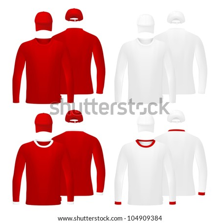 Long Sleeve Shirt Vector Template Template Set Long Sleeve Red