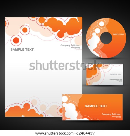 template set of business items in orange color