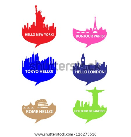 Template set-Speech bubble Hello City vector