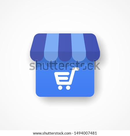 Template shop icon with basket. Symbol with shadow. Commerce concept. Vector illustration. EPS 10