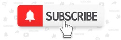 Template subscribe button with bell and finger click cursor. Social media background subscribe. Social media concept. Vector illustration. EPS 10