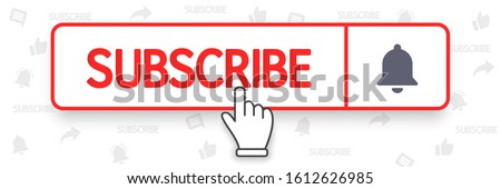 Template subscribe button with bell and hand cursor. Blogging. Promotion. Marketing. Communication. Social media concept. Vector illustration. EPS 10