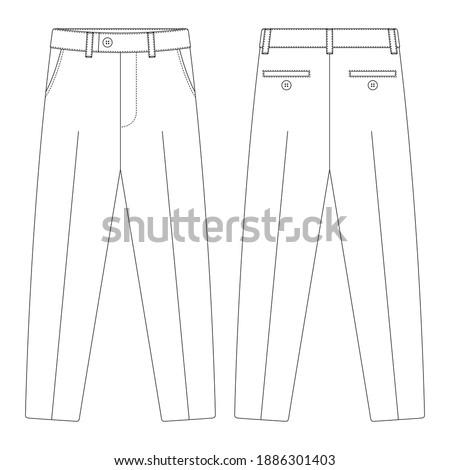 Template suit trouser pants vector illustration flat design outline clothing Foto stock ©