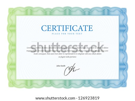 Template  that is used in certificate, currency and diplomas. Vector illustration