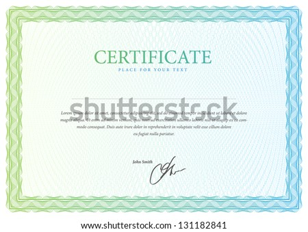 Template that is used in certificate currency and diplomas Vector illustration