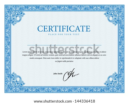 Template that is used in diplomas certificate and currency with floral elements Vector illustration