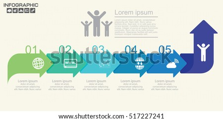 Template Timeline Infographic colored horizontal arrows. Can be used for workflow, banner, diagram, web design, area chart