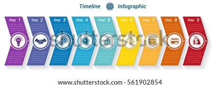 Template Timeline Infographic from colour arrows numbered for 9 position can be used for workflow, banner, diagram, web design, area chart