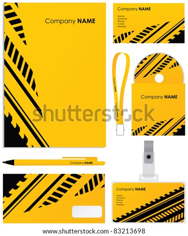 Template vector background; blank, card, cd, note-paper, cover and pen