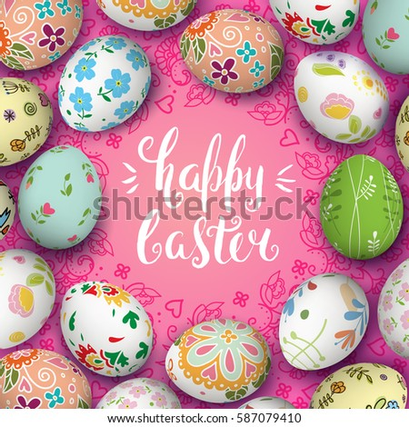 Template vector card with realistic colorful eggs. Round folk Russian ornament. Handwriting inscription Happy Easter. Lettering, calligraphy. 3D. Pink background.