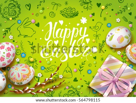 Doodle easter bunny and egg pattern download free vector art template vector card with realistic eggs gift box and flowers handwriting inscription happy easter negle Image collections