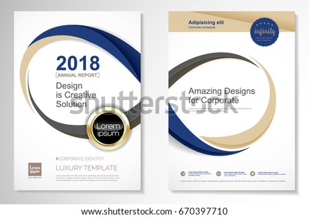 Template vector design for Brochure, Annual Report, Magazine, Poster, Corporate Presentation, Portfolio, Flyer, layout luxury with  blue and gold color size A4, Front and back, Infinity Concept.