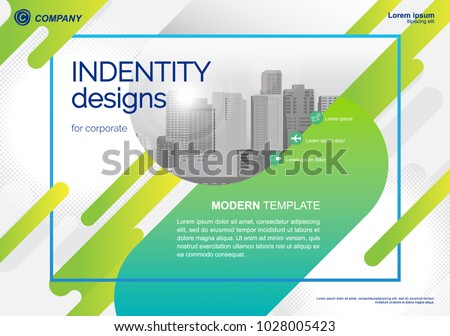 Template vector design for Brochure, Annual Report, Web design  Poster, Corporate Presentation, Flyer, layout modern with green color size horizontal, Easy to use and edit.