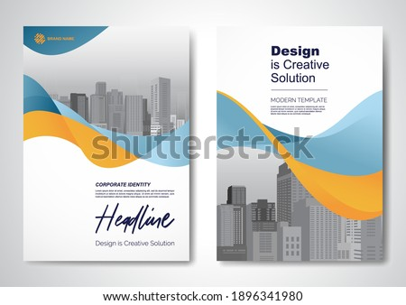 Template vector design for Brochure, AnnualReport, Magazine, Poster, Corporate Presentation, Portfolio, Flyer, infographic, layout modern with Orange color size A4, Front and back, Easy to use.