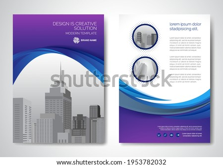 Template vector design for Brochure, AnnualReport, Magazine, Poster, Corporate Presentation, Portfolio, Flyer, infographic, layout modern with blue color size A4, Front and back, Easy to use and edit. Сток-фото ©