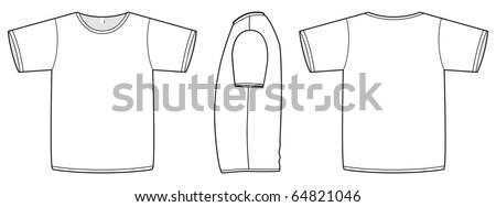 Template vector illustration of a blank basic T-shirt. All objects and details are isolated. Colors and transparent background color are easy to adjust/customize.