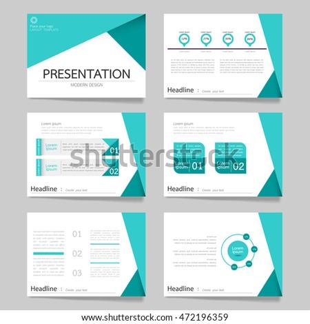 template vector triangle blue set for brochure presentation business