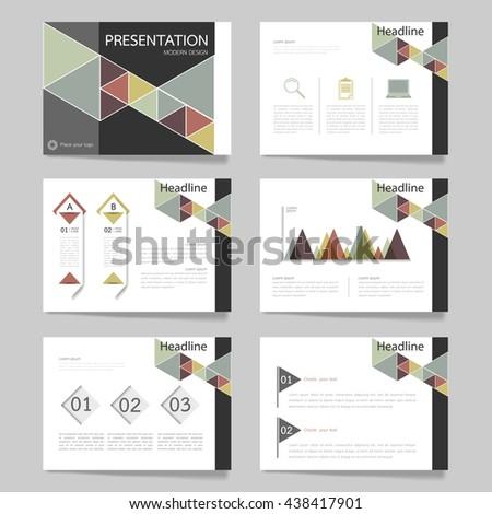 Template vector triangle pastel set for presentation. slides of modern layout and brochure illustration design  #438417901