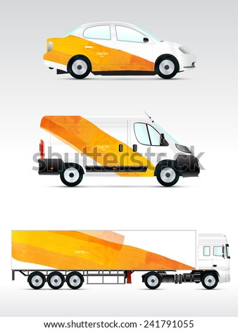 Template vehicle for advertising branding or corporate identity Passenger car truck bus