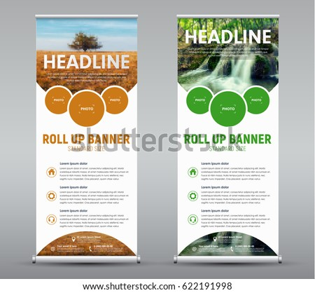 Template vertical roll up banner with round and semicircular design elements for the image. A set of brochures with a landscape and a waterfall. Vector illustration