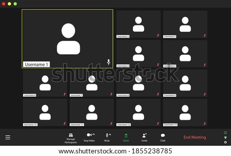 Template video conference user interface, video conference calls window overlay. Four users.