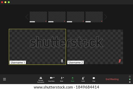 Template video conference user interface, video conference calls window overlay. Six users.