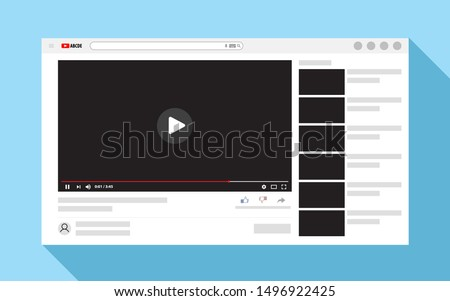 Template video frame. Video player layout. Video content mockup. Vector illustration