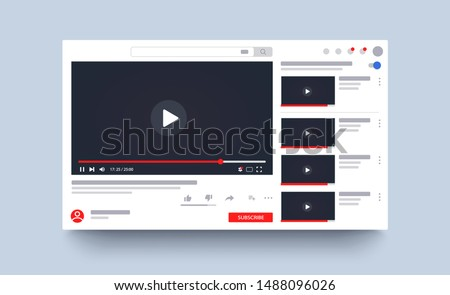 Template video frame. Youtube video player layout. Video content mockup. Social media content. Social media concept. Vector illustration. EPS 10