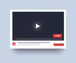 Template video player PC, live streaming, mockup online channel. Social media channel. Web element. Video online, blogging, streaming. Template display. Vector illustration. EPS 10