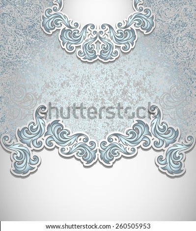 Template vintage background in silver blue colors for invitation or congratulation or package perfumer, cosmetic, jewelry, sweets, tea, cigarettes or for label vodka